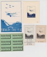 25 – PONTARLIER – AVIATION  - 5 Vignettes Et 1 Carte De La Fête Aérienne De 1934 - Pontarlier