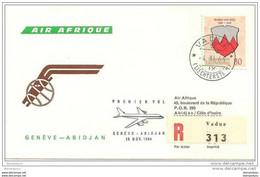 211 - 24 -  Enveloppe 1er Vol Air Afrique Genève-Abidjan Par DC-8 - 1964 - Air Post