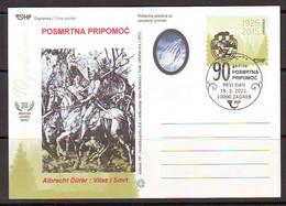 Croatia 2021 90th Anniversary Of POSMRTNA PRIPOMOC Albrecht Durer Postcard Overprint Postmark 10000 Zagreb 19.03. - Croatia