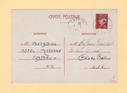 Embrun - Hautes Alpes - 1944 - Entier Type Petain - 1921-1960: Modern Tijdperk