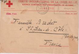 CP CROIX ROUGE-AGENCE DES PRISONNIERS DE GUERRE-CAD GENEVE 9/11/1940 /ST.JEAN DE COLE-DORDOGNE - GE Geneva
