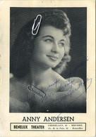 GEEL: 1938 - Deurne 2014 : Regina Hendrickx (Anny Andersen Belgian Singer And Actress,   Signature( 18 X 12.5 Cm ) - Geel