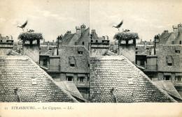 CPA -  STRASBOURG - LES CIGOGNES (CARTE STEREO) - Strasbourg