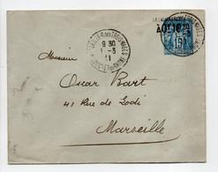 - Lettre MARSEILLE, Rue Des Trois-Mages Pour Rue De Lodi 1.3.1911 - TAXE REDUITE A 0f.10 Sur 15 C. Bleu Type Sage - - Standard Covers & Stamped On Demand (before 1995)