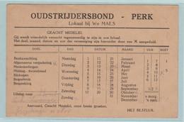 Perk 1948, Kaart Oudstrijdersbond , Lokaal  Bij Wwe.Waes, Leeuwtjes, Klein Staatswapen 2021 - Sellos Privados