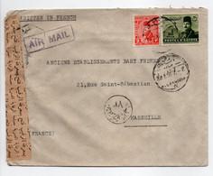 - Lettre Censurée ALEXANDRIE (Egypte) Pour MARSEILLE (France) 21.8.1950 - A ÉTUDIER - - Covers & Documents
