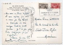 - Carte Postale MONTE-CARLO Pour SAINT-PIERRE-EGLISE (France) 11.2.1952 - 5 F. + 8 F. Sceau Du Prince - - Covers & Documents