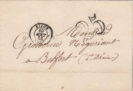 LSC Cachet DIJON Côte D' Or 19/8/1853  Taxe Double Trait 25 Pour Belfort - 1849-1876: Période Classique