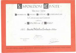 ESPOSIZIONI RIUNITE MILANO 1894 SOCIETA' FILATELICA LOMBARDA ANNULLO 1-12-74 MILANO UNIONE FILATELICA LOMBARDA - Exhibitions