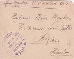 1914/18 - LES ARCHES (SEINE ET OISE) - ENVELOPPE FM De 81° ARTILLERIE LOURDE FORT DU TROU D'ENFER => BEZIERS - WW I