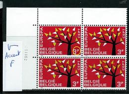 Bloc De 4 Datée Du 5 IX 62 Du N° 1222 - V - Accent Dans Le F  ( état: ** ) - Plaatfouten (Catalogus OCB)