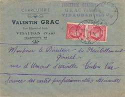 1945 MAZELIN 1f PAIRE VARIÉTÉ DEFAUT IMPRESSION - LETTRE HOROPLAN VIDAUBAN VAR 13/11/45 - 1945-47 Ceres De Mazelin