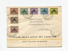 !!! VATICAN, LETTRE POUR ROME DU 20/2/1939 (1ER JOUR D'EMISSION DES TIMBRES) - Covers & Documents
