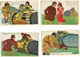 4  Cpa Humour Militaire Signées SPAHN Ed. PC Paris Série CC 604-605-607-609 (autour Du Char) - Humoristiques