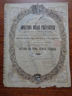 BELGIQUE - BRUXELLES 1869 - CHEMIN DE FER JONCTION BELGE PRUSSIENNE - ACTION DE 500 FRS - ETAT MOYEN, VOIR SCAN - Non Classés