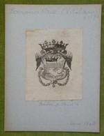 Ex-libris Héraldique Illustré XIXème -  VITALIANO BORROMEO ARESE (mort En 1874) - Bookplates