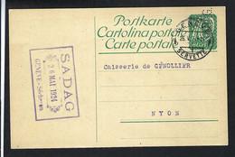 SUISSE 1924: CP Affr. De 10c De Genève Pour Genollier - Cartas