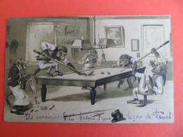 CPA 1903 Humour Animal Singe Jouant Au Billard - Gaufrée - 1900-1949