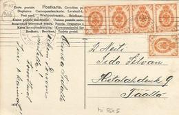 000906 - FINLAND - 10 PEN FRANKING MADE OF 5 STAMPS 2 PEN ON POSTCARD - LOCAL HELSINKI FRANKING  - 1906 - Briefe U. Dokumente