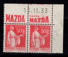 Publicite - YV 283 N** Paire Avec Publicite Mazda Au Nord Et Date Complète Du 13.11.33 - Publicidad
