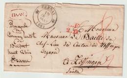CERNAY Cachet Double Fleuron Type 12, L.F 2.D, Sur Lettre Pour Leffingen Canton D'Argovie (Suisse) - 1801-1848: Precursors XIX