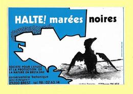 AUTOCOLLANT STICKER - HALTE  MARÉES NOIRES - PROTECTION NATURE BRETAGNE - CONSERVATOIRE BOTANIQUE BREST - OISEAU MAZOUTÉ - Stickers