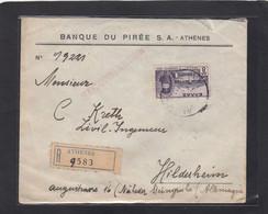 BANQUE DU PIREE,ATHENES.LETTRE RECOMMANDEE,AVEC TIMBRE MONASTERE ARCADION, POUR L'ALLEMAGNE,1931. - Lettres & Documents