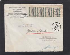 BANQUE POPULAIRE ,ATHENES.LETTRE ,AVEC 4 TIMBRES L'ACROPOLE ET AU VERSO 2 TIMBRES PREV. SOCIALE, POUR L'ALLEMAGNE,1931. - Lettres & Documents
