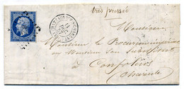 Lettre Avec  N° 14 Ac Avec Losange PC 790 De Chateauneuf Sur Charente Pour Confolens  En 1857  ( T 263 ) - 1849-1876: Classic Period