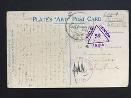 WW2 Censor X 2 India Postcard Sent From Ceylon To England - Cartas