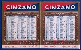 Petit Calendrier Pliant 1930 CINZANO SE BOIT GLACE Carton Fin 8x13 Ouvert Cadre Or NEUF - Small : 1921-40