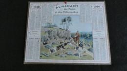 Almanach Des Postes Et Télégraphes 1910 - Chasse à Courre Piste Perdue   - Assez Bon état Complet - Calendrier - Big : 1901-20