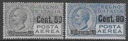 Italia Italy 1927 Regno Leoni Aerea  Sovrastampati Sa N.A8-A9 Completa Nuova MH * - Correo Aéreo