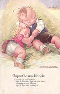 Carte Illustrée Par Mauzan 2 Jeunes Amoureux Dans Le Foin Auprès De Ma Blonde ..... - Mauzan, L.A.