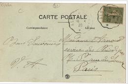 """Cachet Convoyeur """"Albi A Alban 1920"""" Semeuse Indice=4 Cp Ambialet - Correo Ferroviario"""