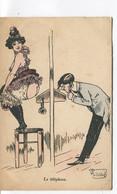 CPA -ILLUSTRATEUR - Signée MOUTON - ART NOUVEAU - Le Téléphone - Erotisme Et Charme. 2 Scans.  - Dos Vierge - - Other Illustrators