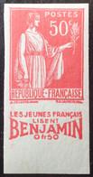 R1491/241 - 1932/1933 - TYPE PAIX - N°283k NON DENTELE NEUF** BdF Publicitaire - Cote (2020) : 115,00 € - Unused Stamps