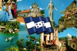 Bandera Y Paisajes De Honduras Avec Blason Drapeau - Honduras