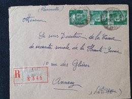Recommandé SERRIERES EN CHAUTAGNE - 24 Mai 1947 - Gandon YT 719 - Savoie - 1921-1960: Modern Period