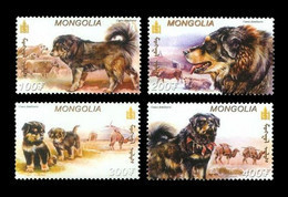 Mongolia 2002 Mih. 3411/14 Fauna. Dogs. Tibetan Mastiffs MNH ** - Mongolia