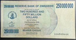 EC0318 - Zimbabwe 250000000 250 Millions Dollars Banknote 2008 P-59 - Zimbabwe