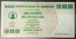 EC0318 - Zimbabwe 100000000 100 Million Dollars Banknote 2008 P-58 - Zimbabwe
