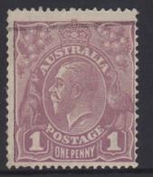AUSTRALIA 1922 1d VIOLET  KGV STAMP (VARIETY FLAW UNDER NECK) 1st.WMK  PERF.14 SG.57e VFU - Usados