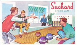 Buvard 21,9 X 12,9 Les Chocolats SUCHARD Jeunes Gens Au Bowling - Cocoa & Chocolat