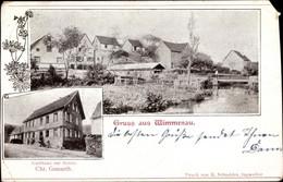 CPA Wimmenau Elsass Bas Rhin, Gasthaus Zur Sonne, Blick Auf Den Ort, Fluss - Andere Gemeenten