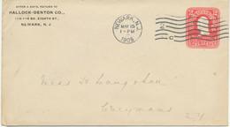 USA 1905 2 C Pink Washington VF STO Postal Stationery Env NEWARK, N.J. - 1901-20
