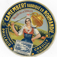 ETIQUETTE DE FROMAGE       CAMEMBERT NORMANDIE PAILLAUD CREUILLY CALVADOS - Cheese