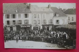 28 Epernon 26 Mai 1912 Carte-photo Pompiers Foule Devant Boutiques TB Animée éditeur A.Lépine Photo Dos Scanné - Epernon