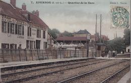 28 / EPERNON / QUARTIER DE LA GARE / HOTEL DU CHEMIN DE FER J. LETMARIE / CLICHE MARTIN N° 7 - Epernon
