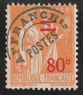 Rare Timbre Préoblitéré Surcharge 80 C Orange N°74 - Usati